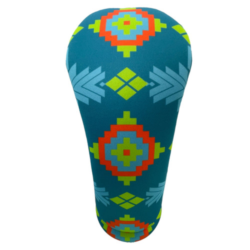 Blue Geometric Native American Patterned American Southwest Golf Club Head Cover - Front