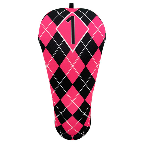Hot Pink and Black Argyle Driver Golf Club Head Cover from BeeJos - Front
