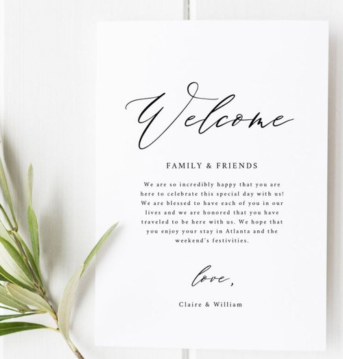 Custom Wedding Welcome Letter