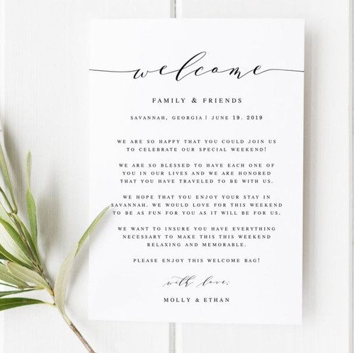Custom Wedding Welcome Letter 2