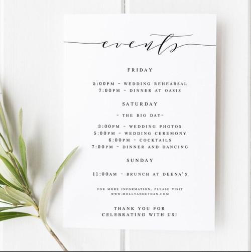 Custom Wedding Welcome Letter 2