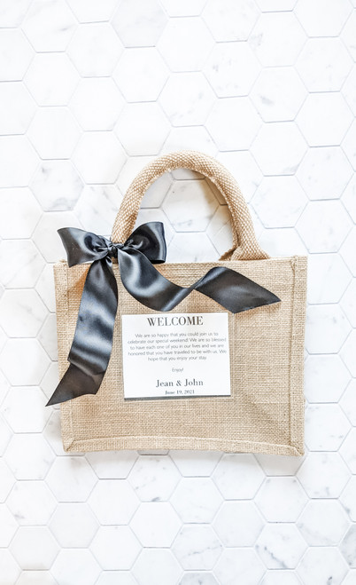 Burlap Totes with Clear Pocket - Sets of 6