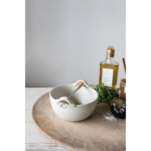Stoneware Bowl with Wood Handle Whisk