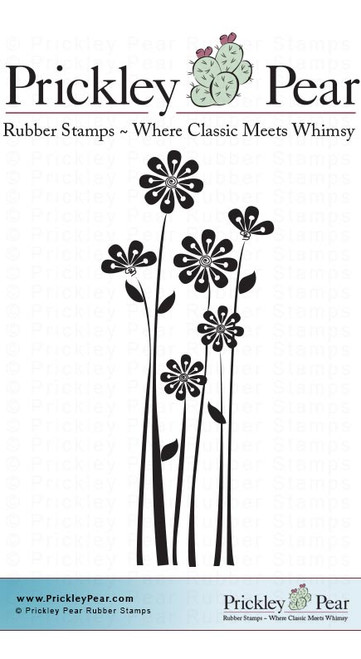 Starburst Daisies, Small - Red Rubber Stamp