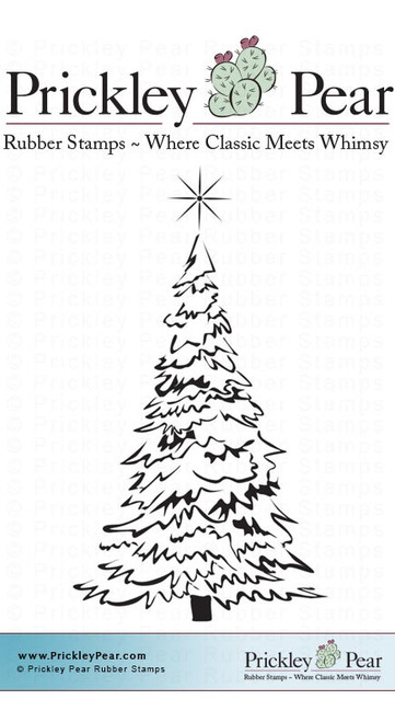 Evergreen with Star, Small - Red Rubber Stamp