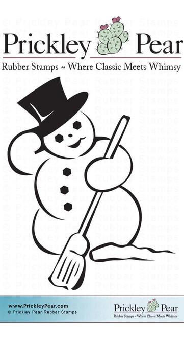 Snowman with Broom, Small - Red Rubber Stamp