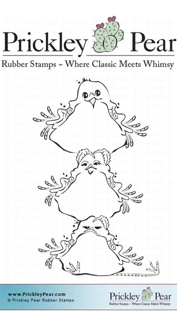 Stacked Robins, Sml - Red Rubber Stamp