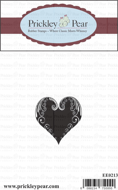 Small Swirl Heart - Red Rubber Stamp