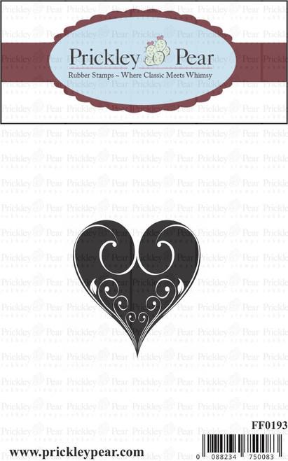 Medium Swirl Heart - Red Rubber Stamp
