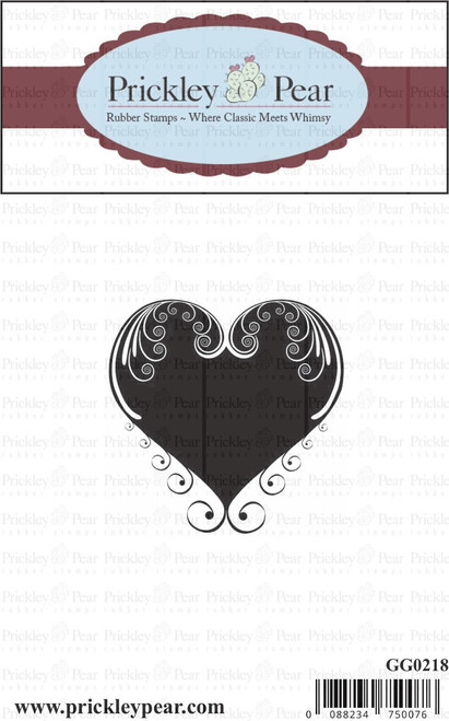Large Swirl Heart - Red Rubber Stamp