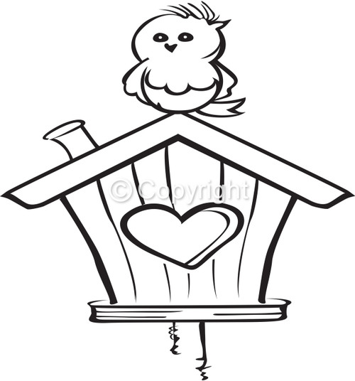 Small Birdhouse - Red Rubber Stamp