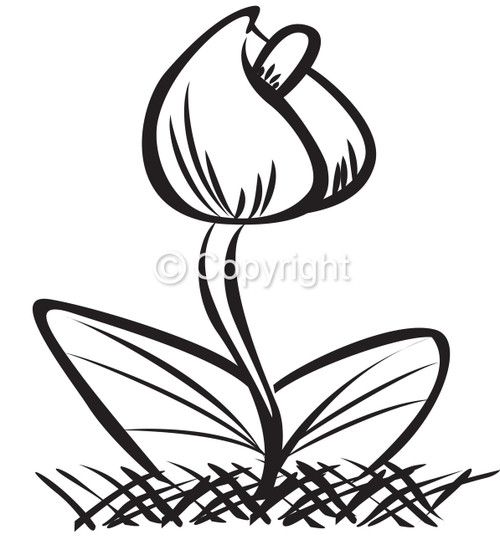 Spring Tulip, Large - Red Rubber Stamp