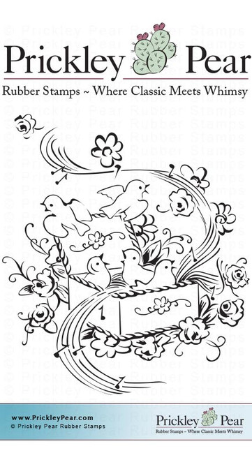 Birds In Music Box - Red Rubber Stamp