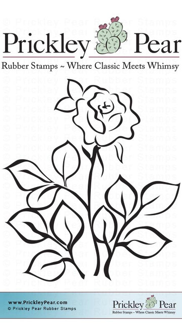 Rose, Small - Red Rubber Stamp
