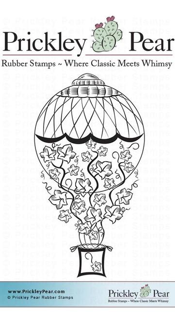 Pumpkin Air Balloon - Red Rubber Stamp