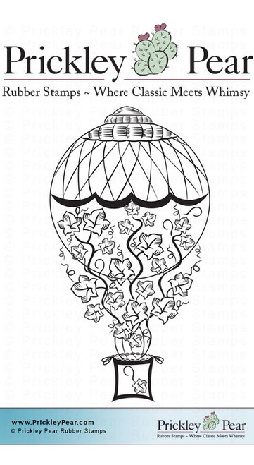 Pumpkin Air Balloon - Red Rubber Stamp