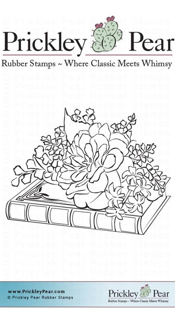 Book with Flowers - Red Rubber Stamp