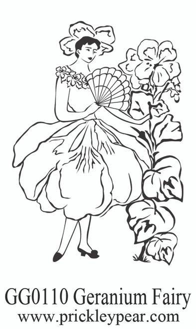 Geranium Fairy - Red Rubber Stamp