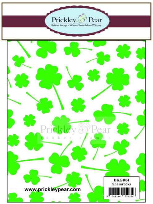 Shamrock Background - Red Rubber Stamp