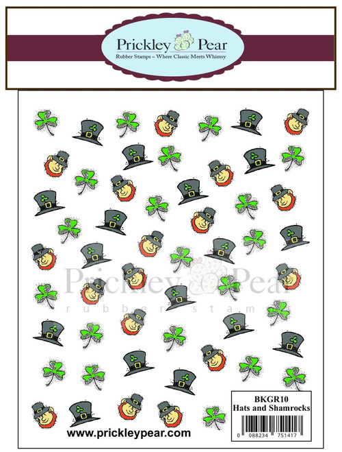 Hats and Clovers Background - Red Rubber Stamp