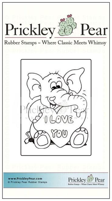 Vintage Valentine - Elephant - Red Rubber Stamp
