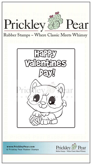 Vintage Valentine - Kitty - Red Rubber Stamp