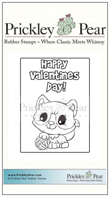 Vintage Valentine - Kitty - Red Rubber Stamp