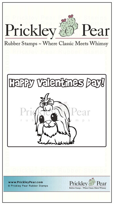 Vintage Valentine - Puppy - Red Rubber Stamp