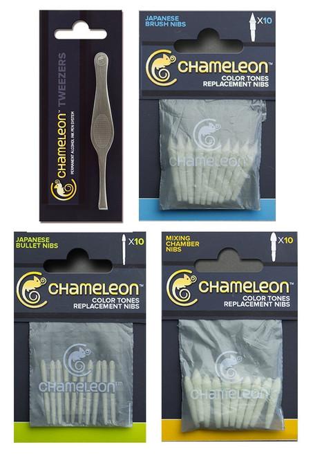 Chameleon Brush Nibs, Bullet Nibs, Mixing Chamber Nibs and Tweezer