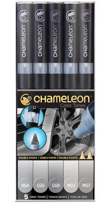 Chameleon Art Products 5 Piece Marker Pen Set - Gray Tones