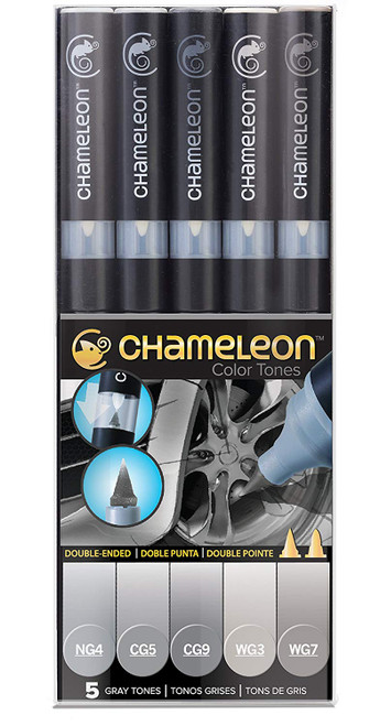 Chameleon Art Products 5 Piece Marker Pen Set - Gray Tones