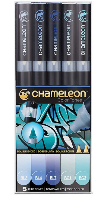 Chameleon Art Products 5 Piece Marker Pen Set - Blue Tones