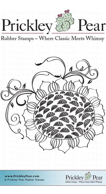 Sunflower with Vines - Red Rubber Stamp Small