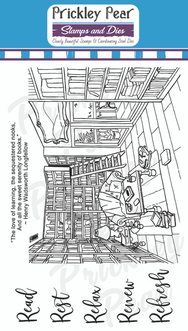 Library Read Rest Relax Renew Refresh Clear Stamp Set CLR209