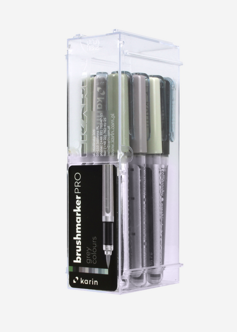 Karin Brush Marker Pro Set of 12 Grey Colors 27C6