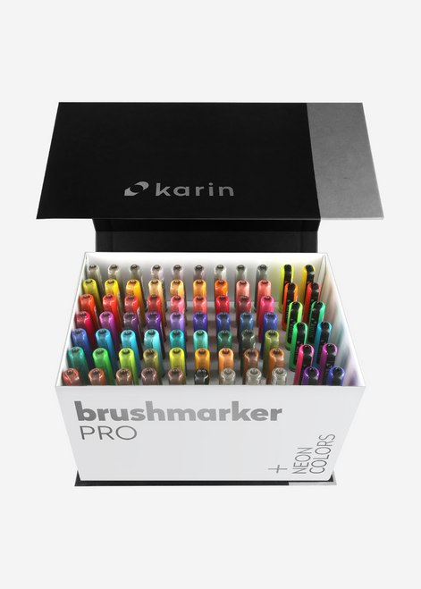 Karin Brushmarker Pro 72 Markers Mega Box Plus 3 Blenders - 27C13