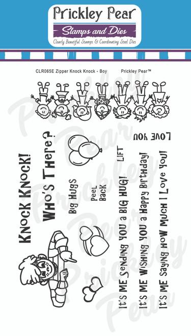 Zipper - Knock Knock Boy Clear Stamp Set CLR065E