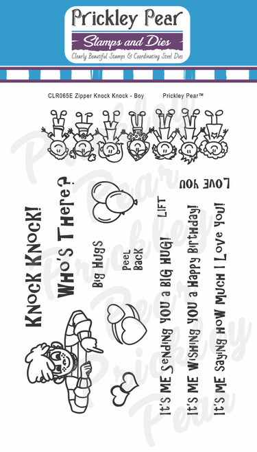 Zipper - Knock Knock Boy Clear Stamp Set CLR065E