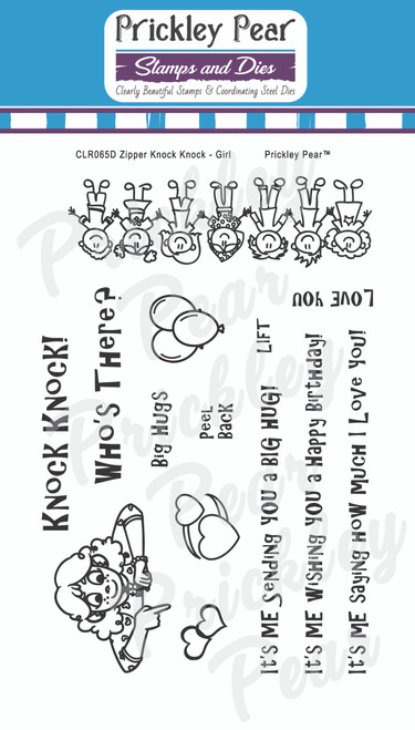 Zipper - Knock Knock Girl Clear Stamp Set CLR065D