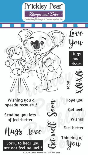 Doctor Koala Bear Get Well Soon Clear Stamp Set CLR216