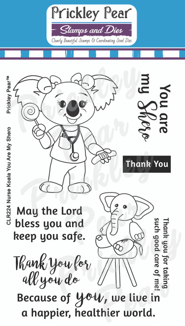 Nurse Koala Bear You Are My Shero Clear Stamp Set CLR224