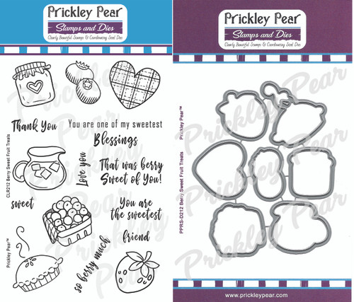 CLR212 and PPRS-D212 Berry Sweet Fruit Treats Clear Stamp Clear Stamp Set and Coordinating Die Combo