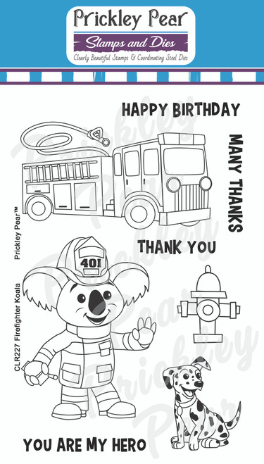 Firefighter Koala Bear Clear Stamp Set CLR227