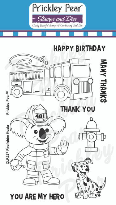 Firefighter Koala Bear Clear Stamp Set CLR227