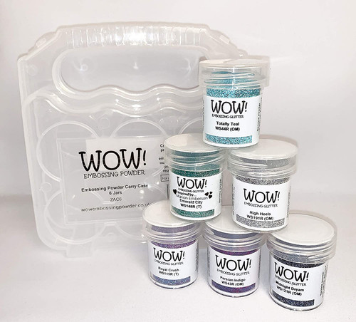 Wow! Embossing Powder and Glitter Ocean Blues Teal Purples 6-Pk and Clear Carrying Case