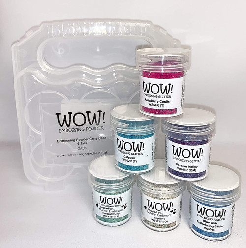 Wow! Embossing Powder and Glitter Magical Mermaid Colors 6-Pk and Clear Carrying Case