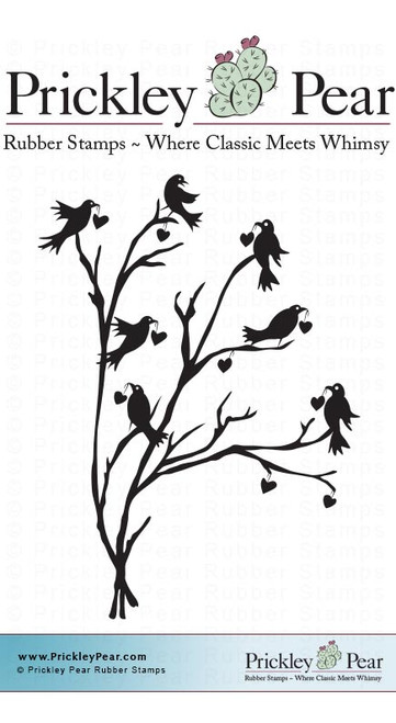 Ravens with Hearts - Red Rubber Stamp