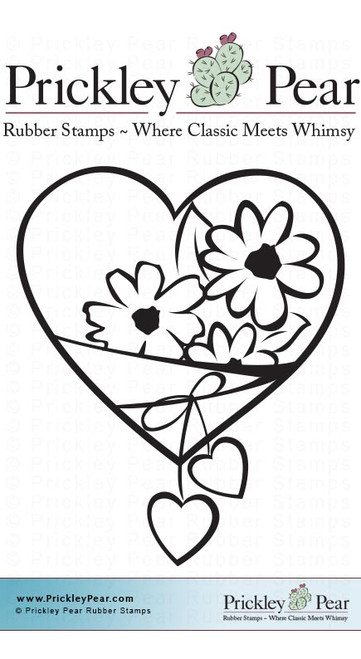 Heart with Daisy's - Red Rubber Stamp