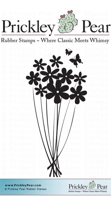 Daisy Cluster - Red Rubber Stamp