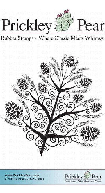 Pinecone Leaf - Red Rubber Stamp